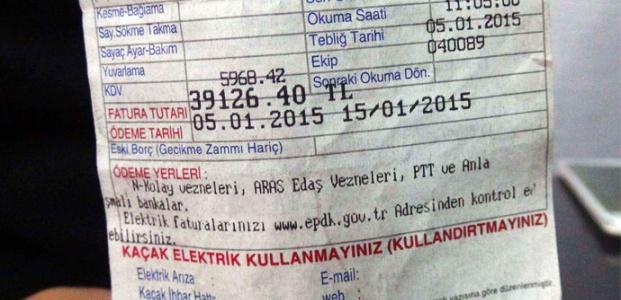 BOŞ EVE 39 BİN LİRALIK FATURA...