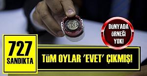 727 SANDIKTA TEK BİR 'HAYIR' ÇIKMAMIŞ!..