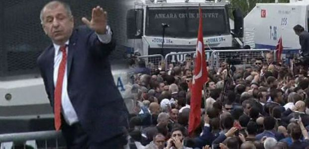 ÜMİT ÖZDAĞ POLİS BARİKATINA ÇIKTI
