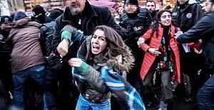 IŞİD'İ PROTESTO EDENLERE MÜDAHALE...