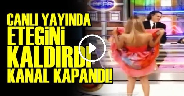 CANLI YAYINDA ETEĞİNİ KALDIRDI...